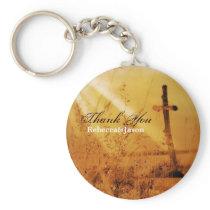 Christian vintage country cross wedding favor keychain