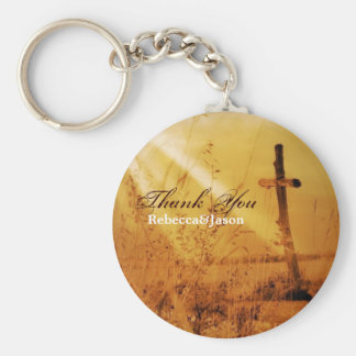 Christian vintage country cross wedding favor keychain