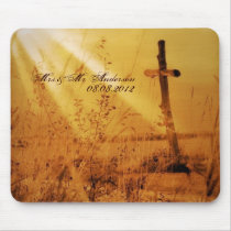 Christian vintage country cross wedding mouse pad