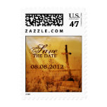 Christian vintage country cross wedding postage