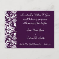 Christian Vintage Damask Wedding Invitation Purple