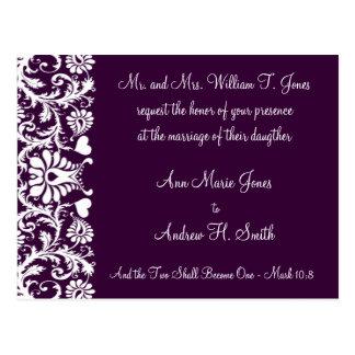 Christian Vintage Damask Wedding Invitation Purple Postcard