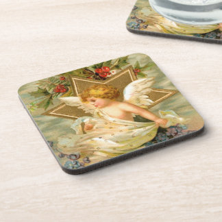 Christian Vintage Victorian Angel and Holly Leaves Beverage Coaster