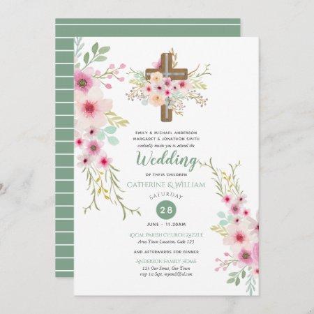 Christian Wedding Catholic Watercolor Flowers Boho Invitation