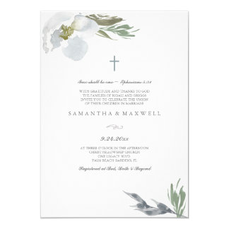 Christian Wedding Cool Grey Watercolor Florals Invitation