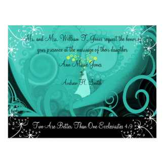 Christian Wedding Invitation Blue Cala Lily Post Card