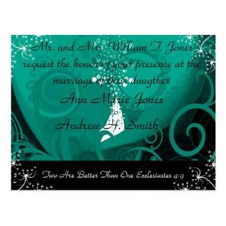 Christian Wedding Invitation Blue Teal Cala Lily Post Card