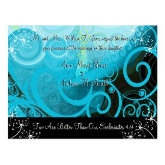 Christian Wedding Invitation Blueberry Cala Lily Postcards