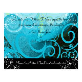 Christian Wedding Invitation Blueberry Cala Lily Postcard