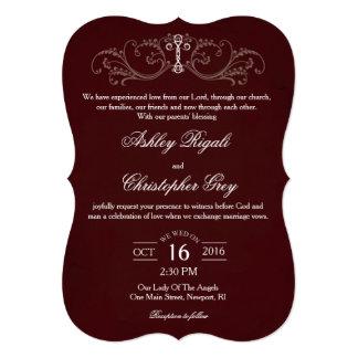 Christian Wedding Invitation - Burgundy & Grey