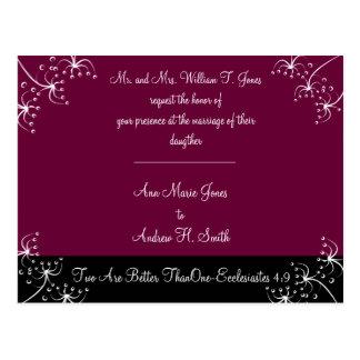 Christian Wedding Invitation Deep Plum Postcard