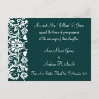 Christian Wedding Invitation Deep Teal