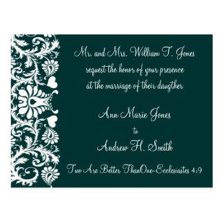 Christian Wedding Invitation Deep Teal Postcard