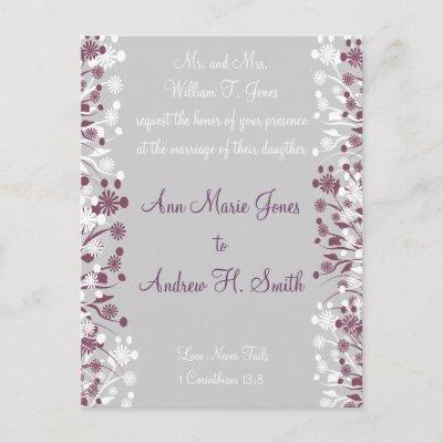 Christian Wedding Invitation Grape Gray Post Cards by samack