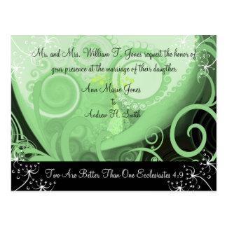 Christian Wedding Invitation Green Cala Lily Post Cards