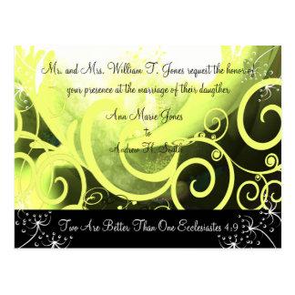 Christian Wedding Invitation Green Cala Lily Postcards