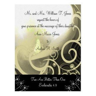 Christian Wedding Invitation Green Cala Lily Post Card