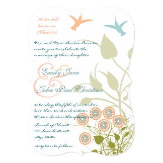 Christian Wedding Invitation Humming Birds Flowers