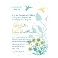 Christian Wedding Invitation Humming Birds Flowers