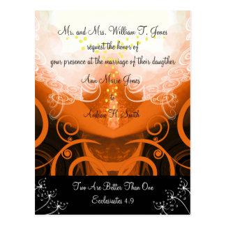 Christian Wedding Invitation Orange Cala Lily Post Card