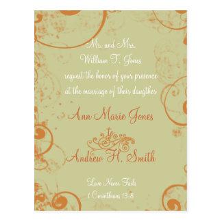 Christian Wedding Invitation Orange White Taupe Postcard