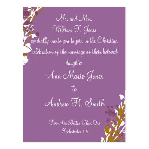 Christian Wedding Invitation Purple Elegance Postcard