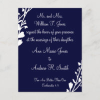 Christian Wedding Invitation Rich Deep Blueberry