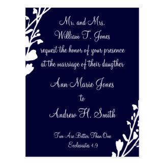 Christian Wedding Invitation Rich Deep Blueberry Postcard
