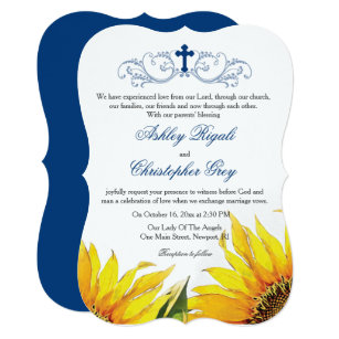 Christian Wedding Invitation Sunflowers