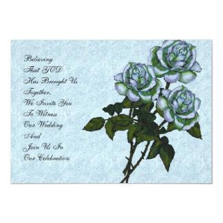"Christian Wedding Invitation: Three White Roses 5"" X 7"" Invitation Card"