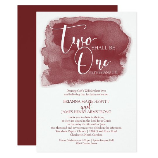 Christian Wording For Wedding Invitations: Christian Wedding Invitation - Watercolor Marsala