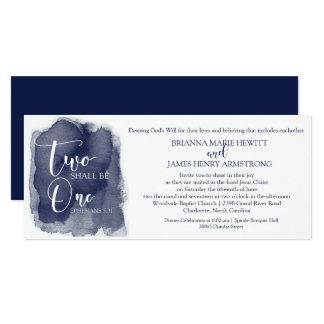 Christian Wedding Invitation - Watercolor Navy