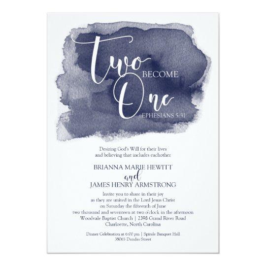 Christian Wording For Wedding Invitations: Christian Wedding Invitation - Watercolor Navy