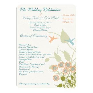 Christian Wedding Program Humming Birds Flowers Card