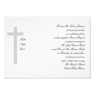 Christian Weddings Faith Hope Love Grey Cross 5x7 Paper Invitation Card