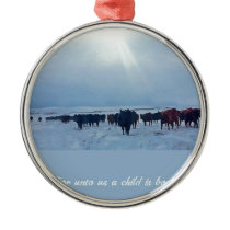 Christian western art of cattle and cows metal ornament