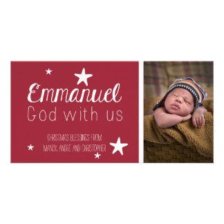 Christian Whimsical Stars Photo Christmas Card Photo Card