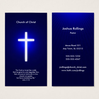 Christian White Cross | Dark Blue Business Card