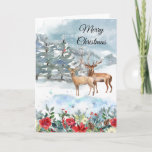 """Christian Woodland Deer Card<br><div class=""""desc"""">A snowy woodland scene with two deer. Front of card reads: Merry Christmas Inside of card reads: May your holidays be filled with joy. Merry Christmas! (Can be customized) Bible verse: Be still,  and know that I am God. Psalm 46:10</div>"""