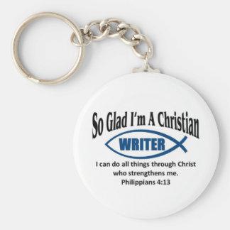 Christian writer basic round button keychain