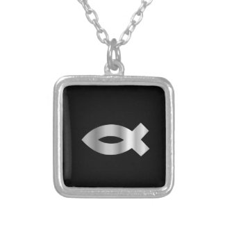 Christianity Ichthys fish.jpg Square Pendant Necklace