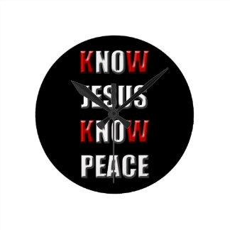 Christianity Know Jesus Know Peace Round Clock