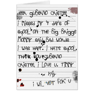 Christie Bridge Scandal Timmy's letter to the Guv Card