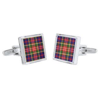 Christie Clan Tartan Plaid Silver Cufflinks
