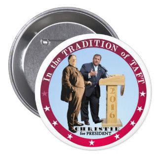 Christie para el presidente 2016 pin redondo de 3 pulgadas