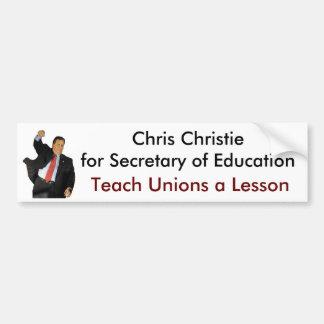 Christie para la secretaria de la educación etiqueta de parachoque