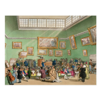 Christie's Auction Room, aquatinted by J. Bluck Postcard