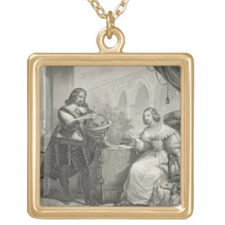Christina (1626-89) Queen of Sweden, from a series Gold Plated Necklace