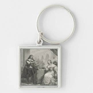 Christina (1626-89) Queen of Sweden, from a series Silver-Colored Square Keychain