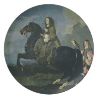 Christina de Suecia 1626-89 a caballo 1653 Plato Para Fiesta